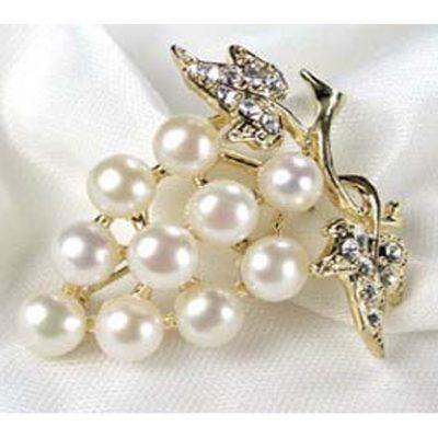 White Genuine Pearl Brooch - Ten Round Pearls