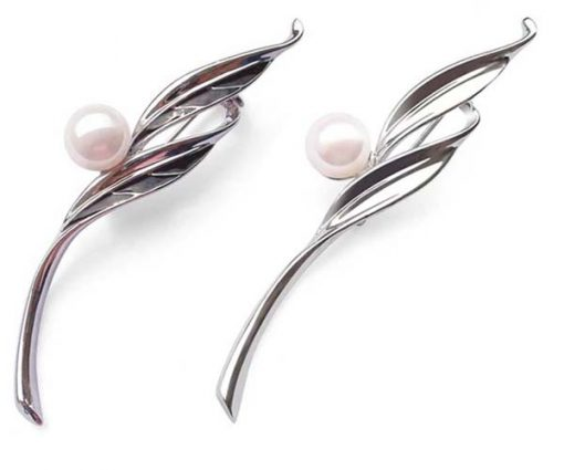 White 8-8.5mm Real Pearl Leaf Brooch