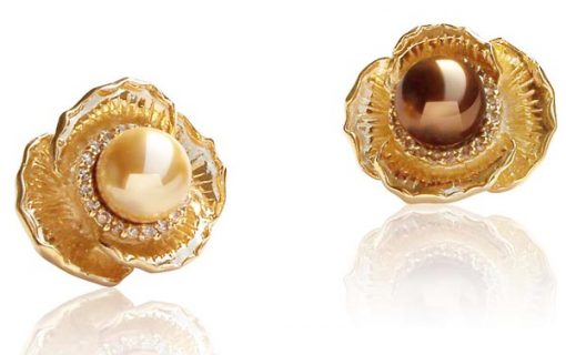 Champagne and Chocolate 14mm SSS Pearl Brooch in Flower Design, 18K YG Plated