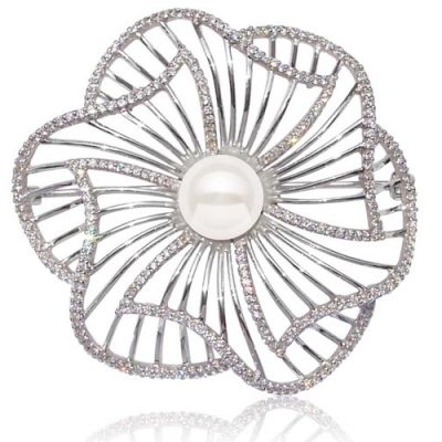 White 9-10mm Pearl Brooch in Large Flower Design, 925 SS