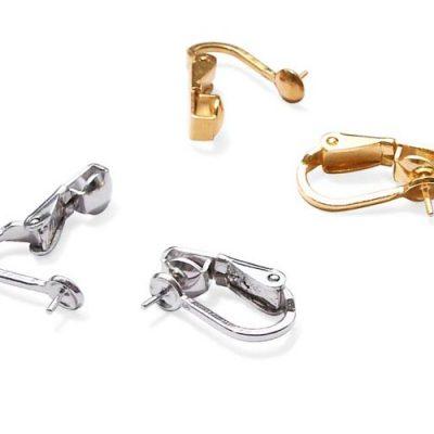 925 SS Lever Back Clipped Earrings Setting, 14K YG or WG overlay