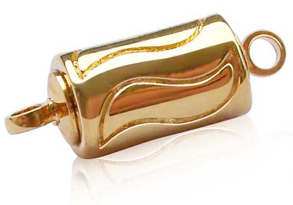 18K YG Plated Cylindrical Magnetic Clasp with Curve Pattern