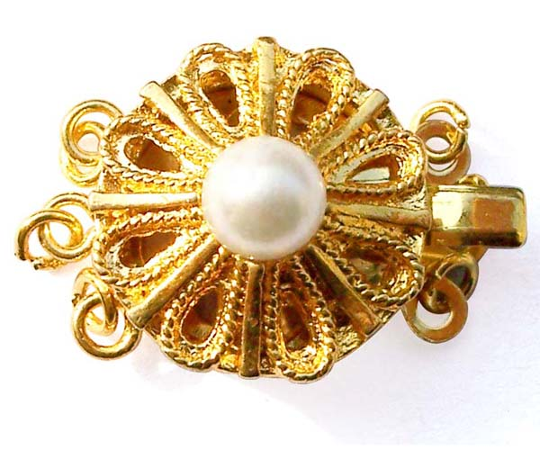 White 5mm Costume Pearl Filigree Style 3-row Clasp, 18K YG overlay