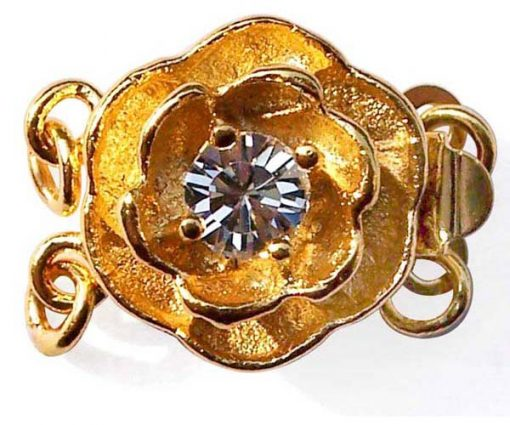 18K YG overlay Rose Shaped Two-row Clasp with a Cz Diamond