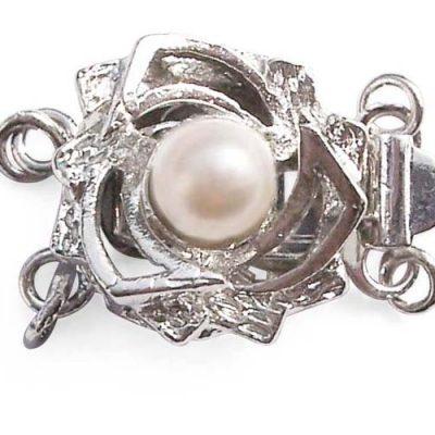 White 4mm Costume Pearl for Double Strand w/ Rosebush Design Clasp, 18K WG overlay