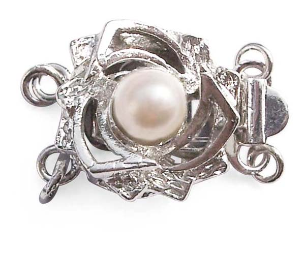 White 4mm Costume Pearl for Double Strand w/ Rosebush Design Clasp, 18K WG overlay