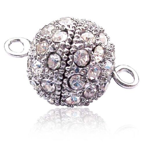Magnetic Pearl Clasp 13mm or 10mm Round 18K WG Overlay CZ Diamonds