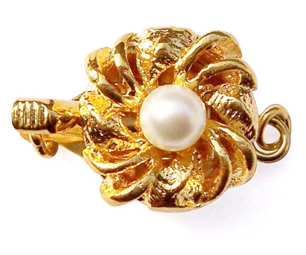 White 4mm Costume Pearl w/ Clasp, 18K YG overlay