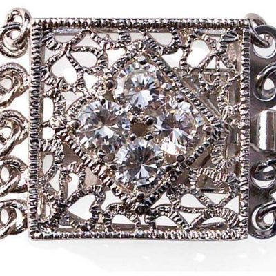 18K WGP Rectangular 5-row Clasp with Cz Diamonds