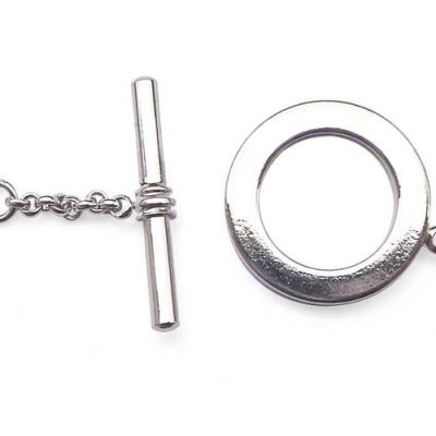 Silver Round Single Row Toggle Clasp