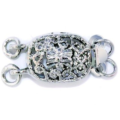 18K WG overlay, 2-Row Clasps, Per Pack of 10