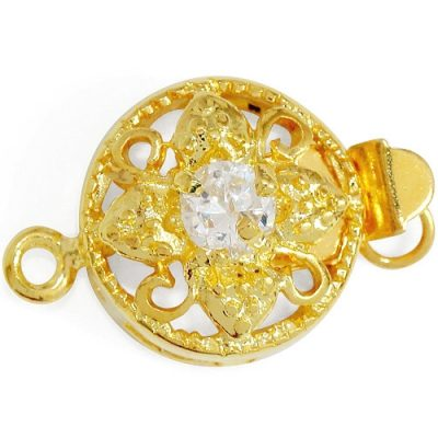 Gold Round Clasp with a CZ, 18K YG Overlay, Per pack of 10