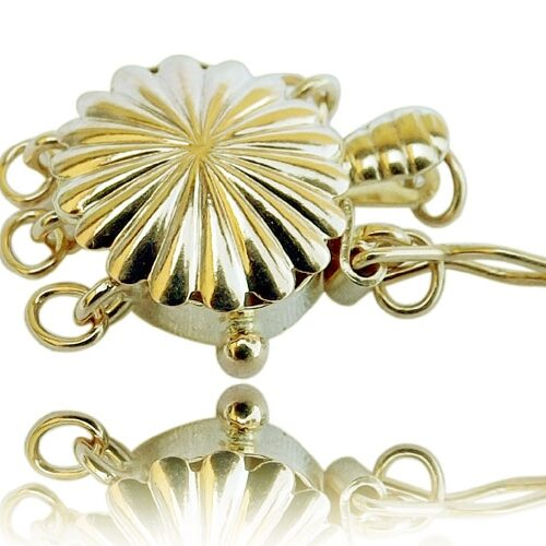14K Yellow Gold Round Shaped 3 row Pearl Clasp