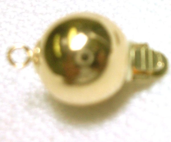 14K Yellow Gold 10mm Ball Clasp for Single Strand Pearl Necklace