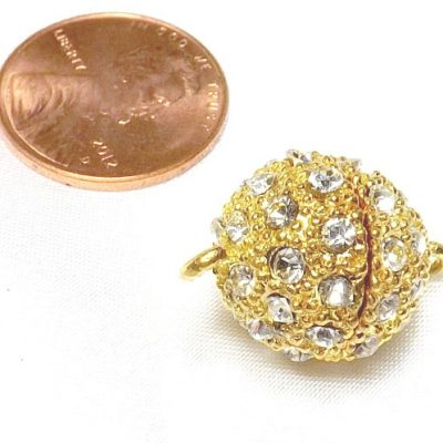 Magnetic Round Pearl Clasp 18KY Gold Overlay CZ Diamonds
