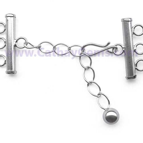 925 SS 3-row Hook and Eye Clasp with an Adjustable Chain
