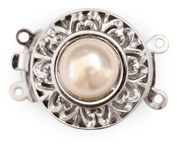 White 10mm Costume Pearl w/ 2-row 925 SS Clasps