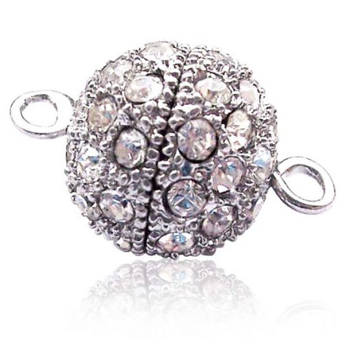 18k WG, Screw-in Round Shaped Clasp with Cz Diamonds