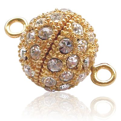18k YG, Screw-in Round Shaped Clasp with Cz Diamonds