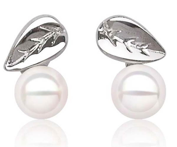White 6mm SSS Pearl Stud Earrings in Leaf Design