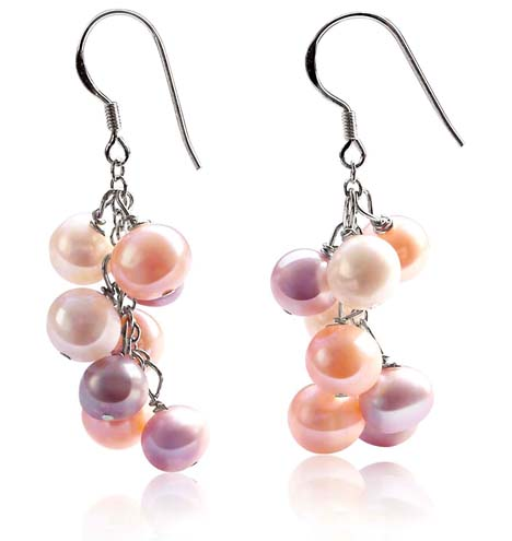 Pink, Mauve and White 7-8mm Clustered Semi-round Pearl Earrings, 925 SS