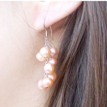 Pink 7-8mm Clustered Semi-round Pearl Earrings, 925 SS