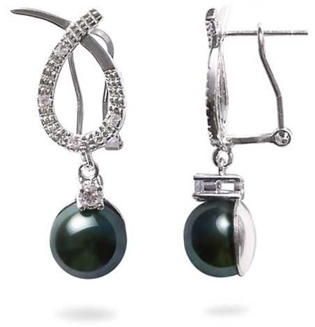 Black 9-10mm Bowknot Styled Pearl Earrings in 925 SS