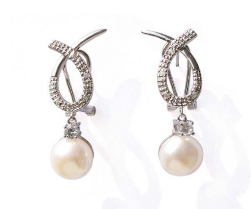 White 9-10mm Bowknot Styled Pearl Earrings in 925 SS