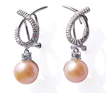 Pink 9-10mm Bowknot Styled Pearl Earrings in 925 SS