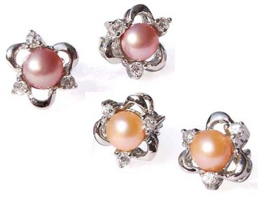Pink and Mauve Tiny 4-5mm Pearl Stud Earrings in 925 SS Clover Shaped Setting with 3 Cz Diamonds