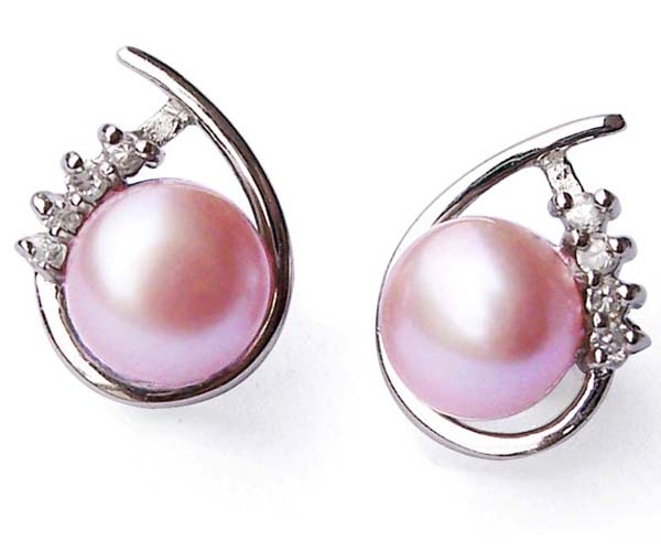Mauve 7-8mm Real Pearl SS Earrings