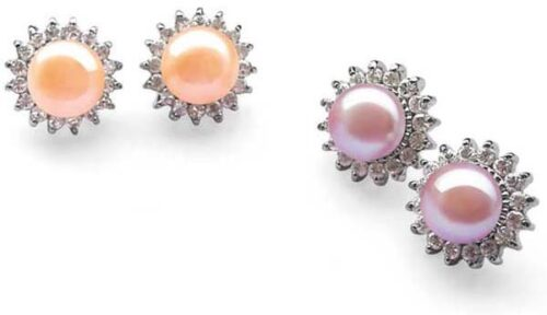 Pink and Mauve 9-10mm Pearl Earrings in Sunflower Design, 925 SS