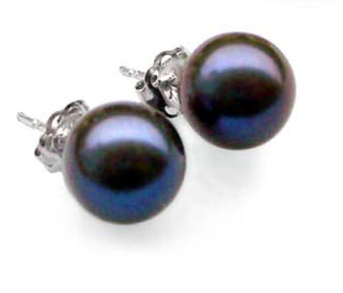 Truly Round Black Pearl Stud Earrings 925 Silver