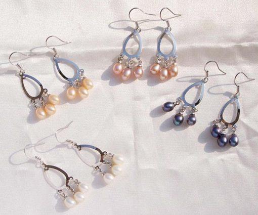 White,Pink,Black and Lavender Chandelier Style Hoop Pearl Earrings in 925 SS