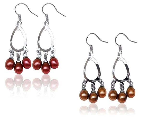 Red and Chocolate Chandelier Style Hoop Pearl Earrings in 925 SS