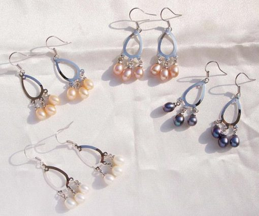 Champagne, Dark Golden Rod, White and Black 5-6mm Pearls, Chandelier Style Hoop Pearl Earrings