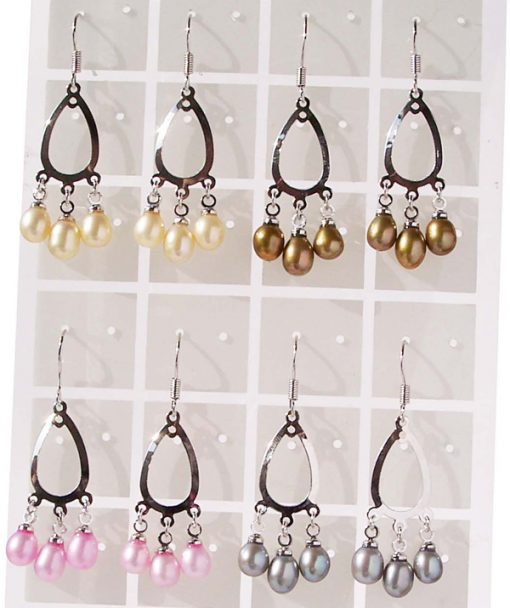 Champagne, Chocolate, Baby Pink and Grey 5-6mm Pearls, Chandelier Style Hoop Pearl Earrings