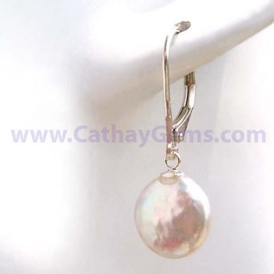 White Coin Pearl Leverback 925 SS Earrings