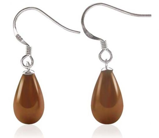 Chocolate 8x14mm Drop Shaped Southsea Shell 925 SS Pearl Earrings