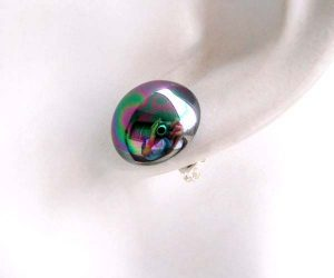 Black 8mm or 10mm Southsea Shell Mabe Pearl Earring Studs 925 SS