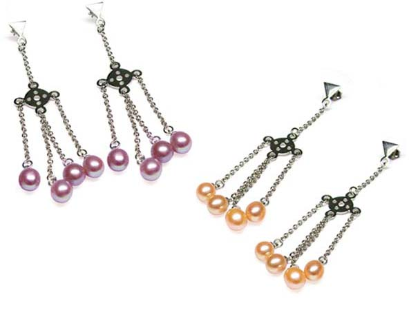 Pink and Mauve Cascading Freshwater Pearl Earrings in SS