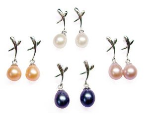 White, Black, Pink and Mauve Genuine 7-8mm Drop Pearl Earrings in 925 SS