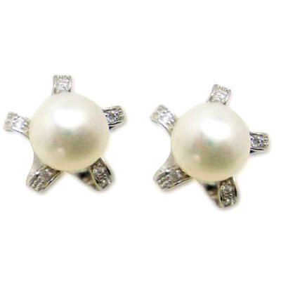 White 9.5-10mm AAA Pearl SS Earrings