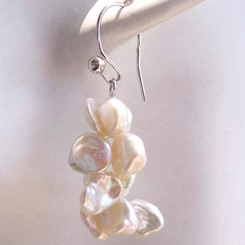 Rare Keshi Pearl Earrings in a 925 Sterling Silver