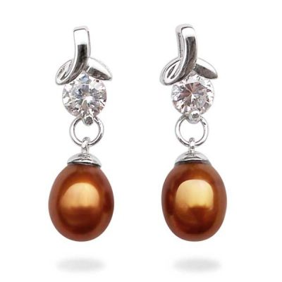 Chocolate High Quality 7-8mm Teardrop Pearl Earrings in 925 SS with a Round Cz Diamond