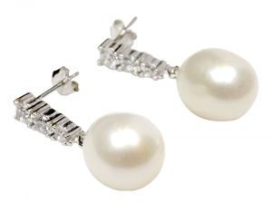 White 925 Sterling Silver Pearl Diamond Drop Earrings