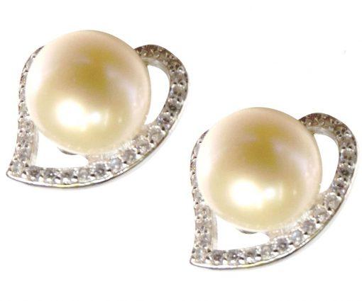 Heart Shaped 925S Silver Pearl Earrings