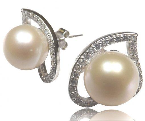 Heart Shaped 9-9.5mm Pearl Silver Earring