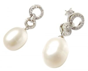 White Silver Drop Pearl Dangling Earrings in 2 Circles