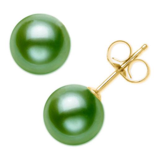 green pearl stud earrings in 14k or 18k solid gold